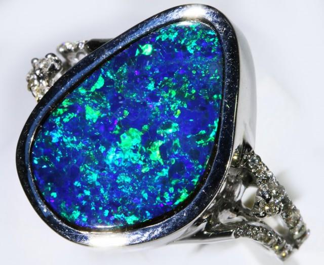 Gem Opal Doublet Ring in 14K White Gold SB 294
