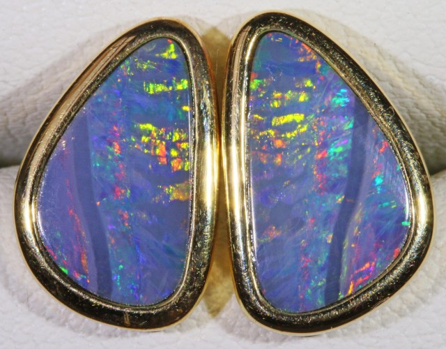 Gem Opal Doublet Earring in 14K Gold SB 272