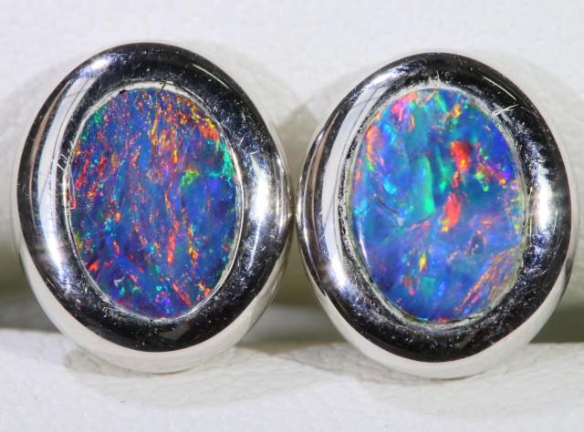 Gem Opal Doublet Earring in 14K  White Gold SB 273