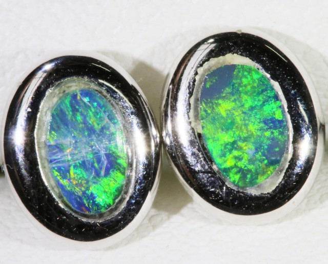 Gem Opal Doublet Earring in 14K White Gold SB 274