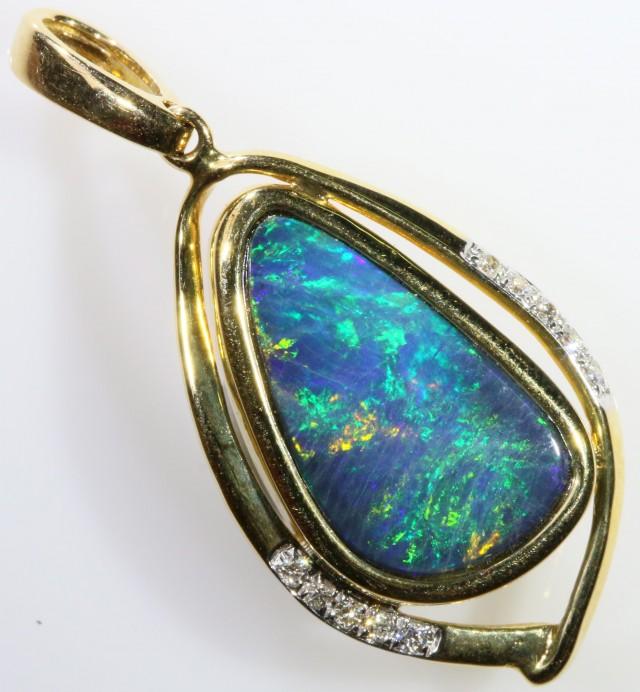 Gem Opal Doublet Pendant in 14K Gold SB 269