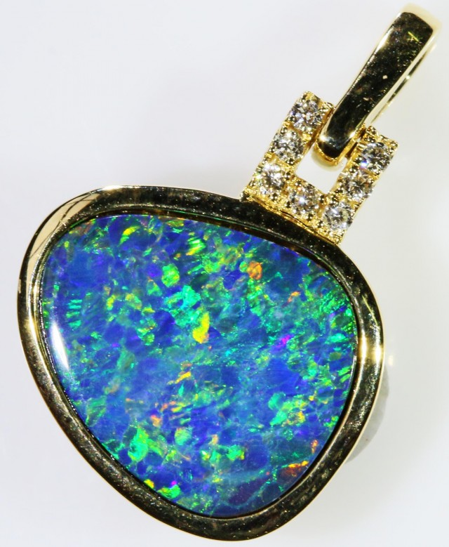 Gem Opal Doublet Pendant in 14K Gold SB 270