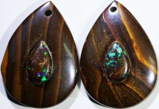 20.91 CTS BOULDER OPAL PAIR DRILLED [SO7249]
