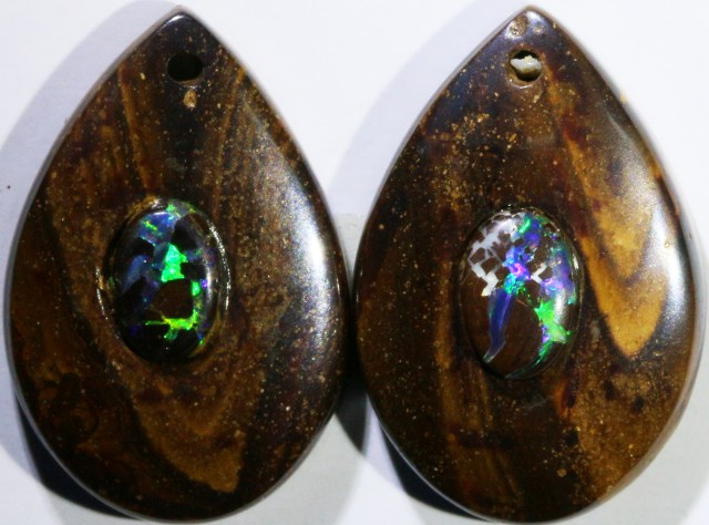 13.60 CTS BOULDER OPAL PAIR DRILLED [SO7252]