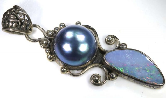 41 CTS SILVER DOUBLET OPAL PENDANT OF-1559