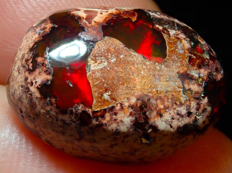 $1 NR Auction 15.8ct Mexican Matrix Cantera Multicoloured Fire Opal