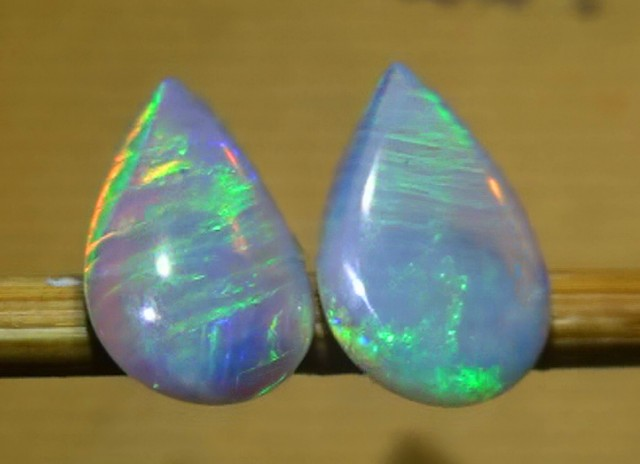 2.60 ct Coober Pedy Blue Green Crystal Opal Earring Pair