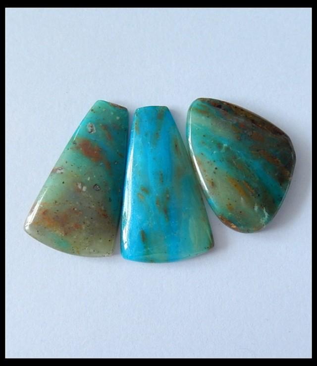3 PCS Natural Blue Opal Gemstone Cabochons,34CT