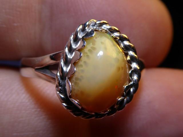 Sz 7 Natural Ethiopian Opal .925 Silver Taxco Handmade Boho Ring Men's Je