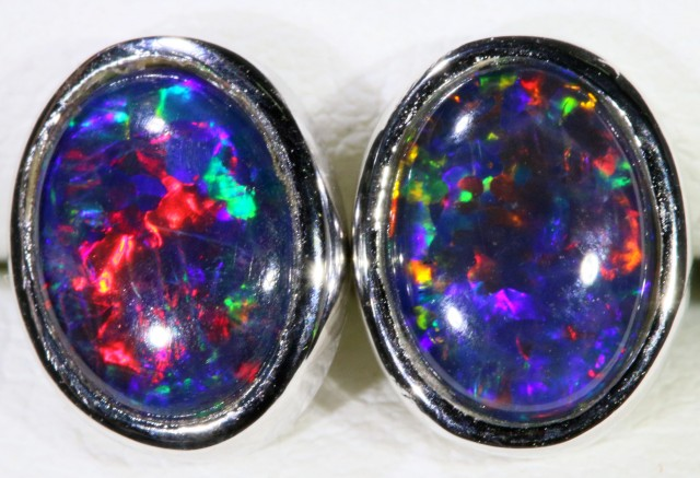 Gem Opal Triplet set in Silver Earring SB 297