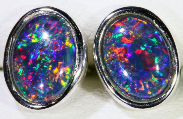 Gem Opal Triplet set in Silver Earring SB 298