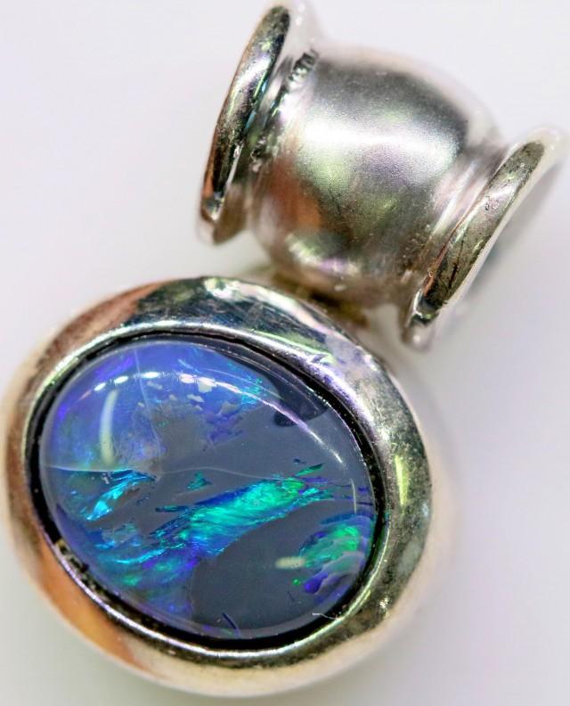 Cute Black  Opal Pendant in Sterling silver  SB 312
