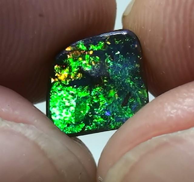 1.55 ct Boulder Opal Natural Gem Green On Gold