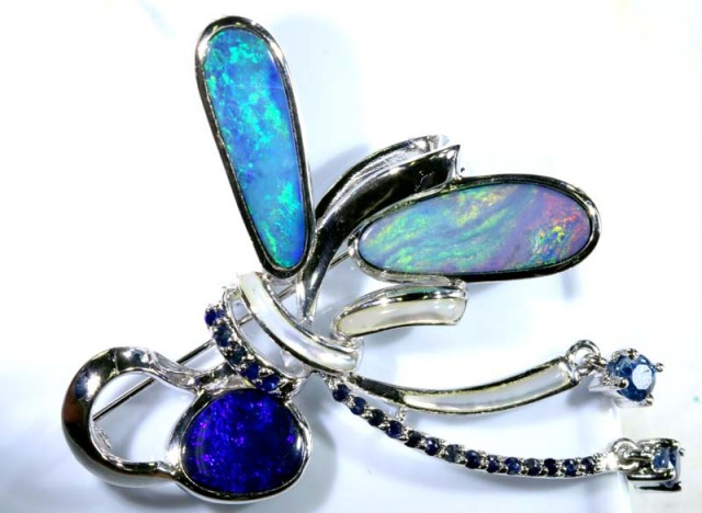 76.55 CTS SILVER DOUBLET OPAL PENDANT WITH GEMSTONE OF-1628