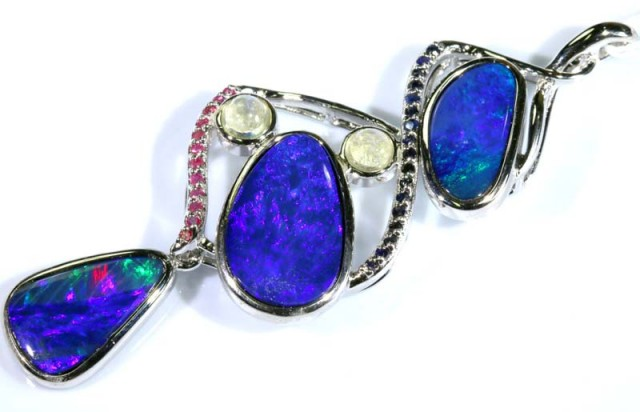 57.05 CTS SILVER DOUBLET OPAL PENDANT WITH GEMSTONES OF-1632