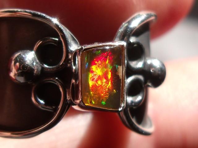 Bezel set Natural Solid opal gem taxco silver ring sz 7.5