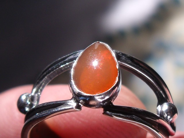 Bezel set Natural Solid opal gem taxco silver ring sz 6.25