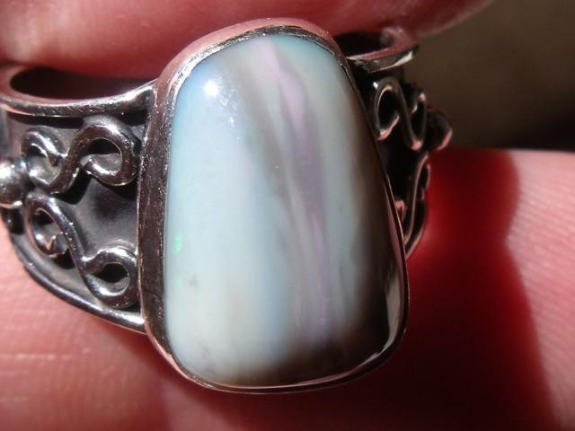 Bezel set Natural Solid opal gem taxco silver ring sz 7.0
