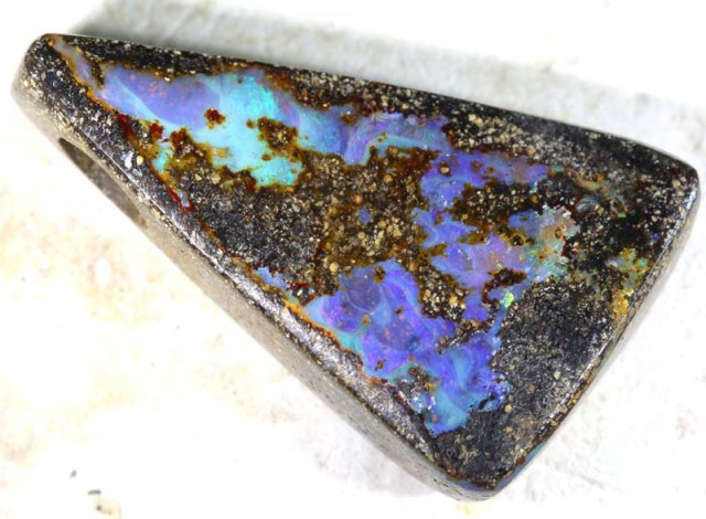 29.50 CTS BOULDER OPAL POLISHED STONE DRILLED ADO-3822