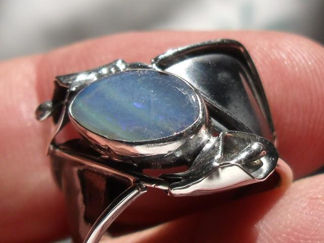 Bezel set Natural Doublet opal gem taxco silver ring sz 7.0