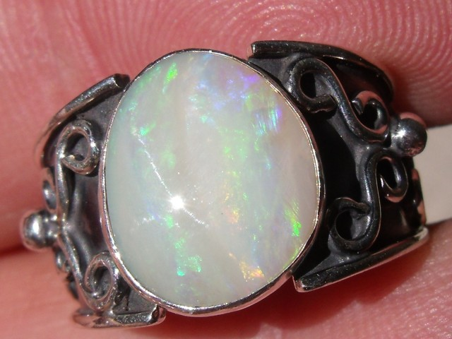 Bezel set Natural Solid opal gem taxco silver ring sz 6.5