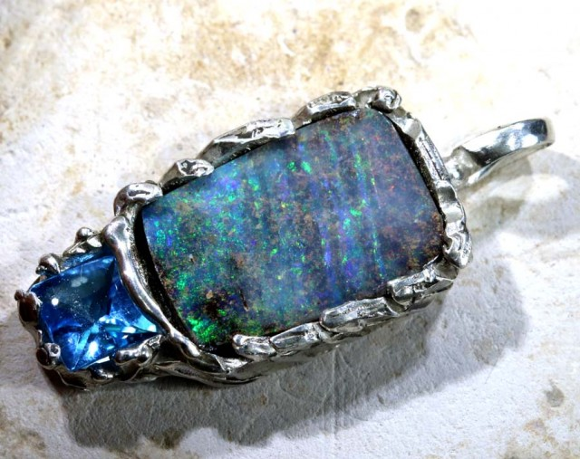 28.35 CTS BOULDER OPAL STERLING SILVER PENDANT OF-1692