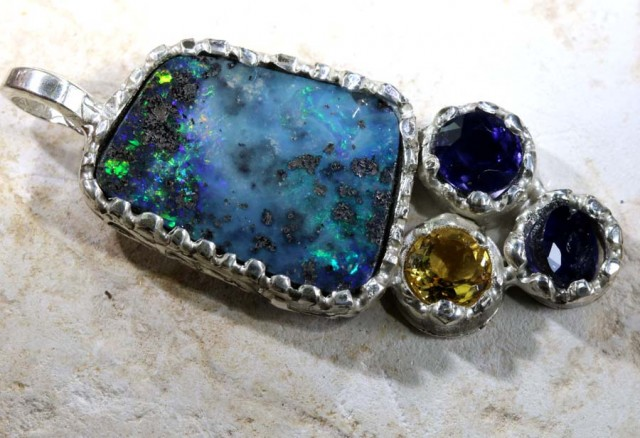 54.50 CTS BOULDER OPAL STERLING SILVER PENDANT OF-1695