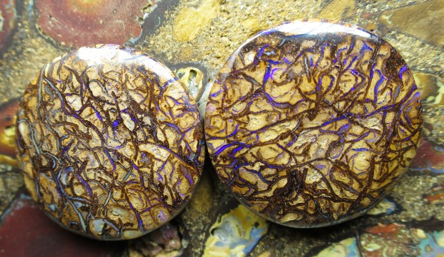 "51cts.""BOULDER MATRIX OPAL PAIR"""