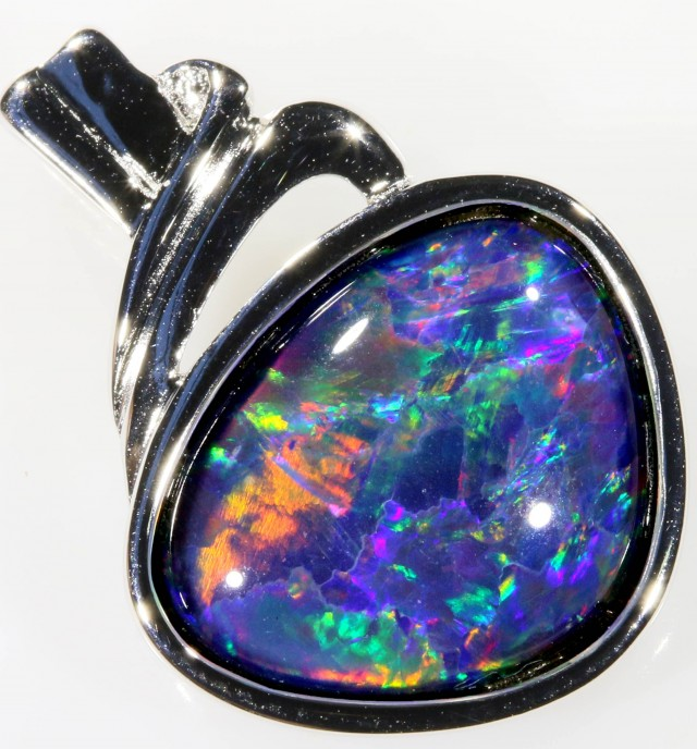 Stylish Triplet Opal Pendant in Sterling Silver  SB 349