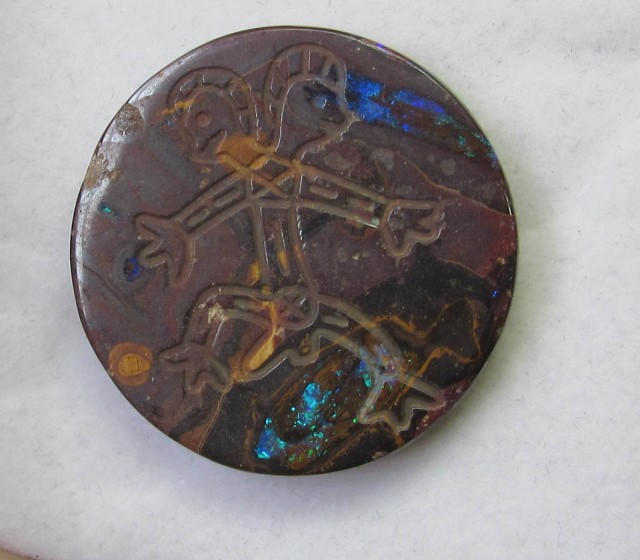 95.1 cts Aboriginal art on boulder Opal ex Bertas Opal collection PPP 489