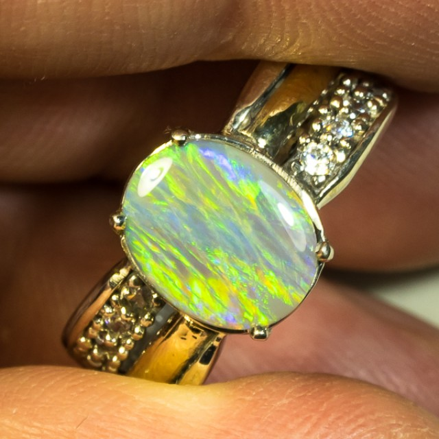Crystal Opal Two Tone Sterling Silver with 9K Yellow Gold Ring Size 7 COPSR