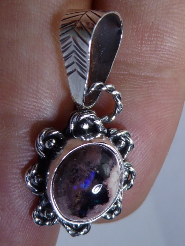 Natural Mexican Opal .925 Sterling Silver Pendant Mexican Taxco