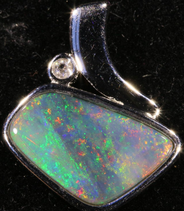 Solid Crystal Opal Pendant set in Silver SB 403