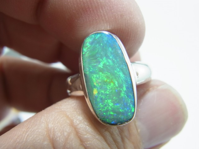 16x8 boulder opal ring