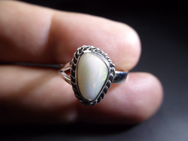 Sz 7.5 Natural Ethiopian Opal .925 Silver Taxco Handmade Boho Ring Jewelry