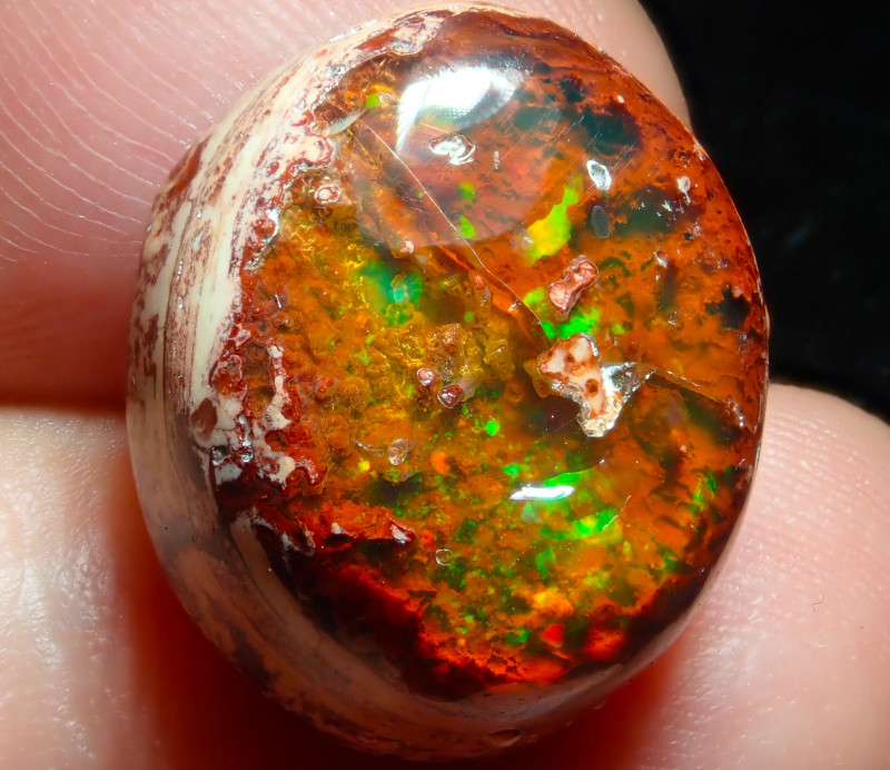 $1 NR Auction 15.15ct Mexican Matrix Cantera Multicoloured Fire Opal