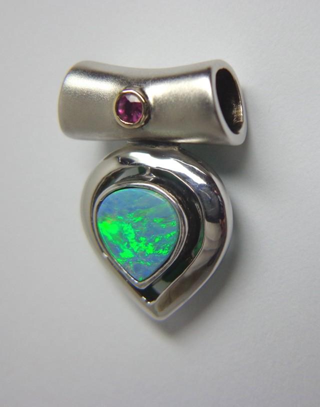 Australian Doublet Opal & Rhodonite Freeform Hand Made 925 Silver Penda