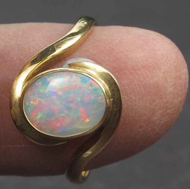 Solid Crystal Opal Gold Ring (GR02 )Hand Made