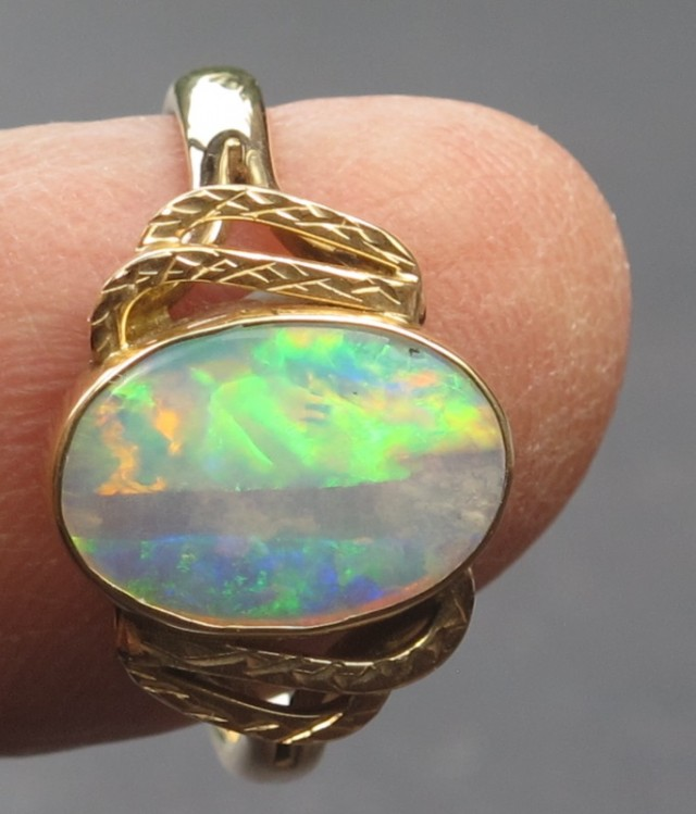 Solid Crystal Opal Gold Ring (GR06 )Hand Made