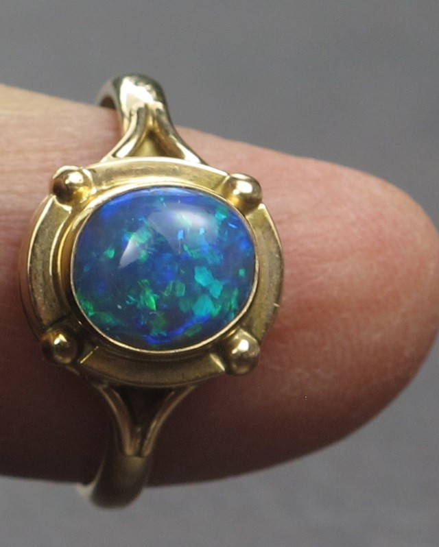 Solid Semi-Black Solid Opal Ring (GR 03) from Lightning Ridge