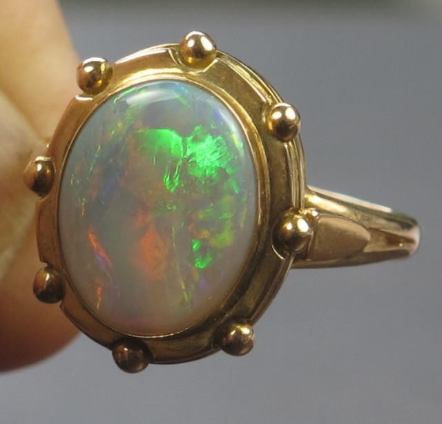 Solid Semi-Black Solid Opal Ring (GR 08) from Lightning Ridge
