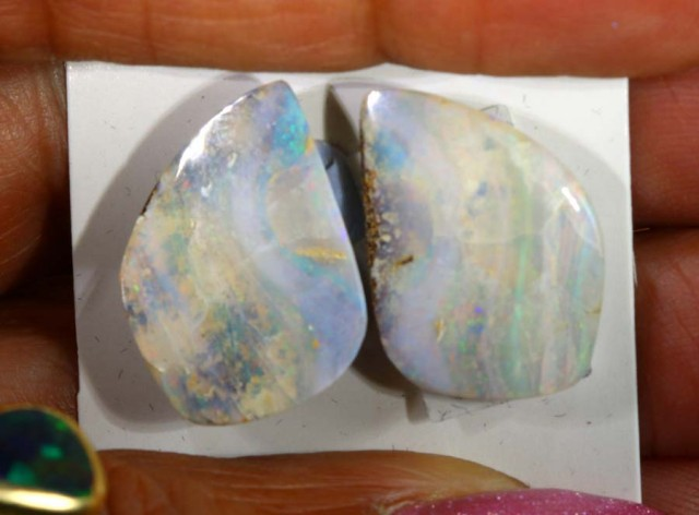 17 CTS BOULDER OPAL PAIR  POLISHED CUT STONE TBO-5370