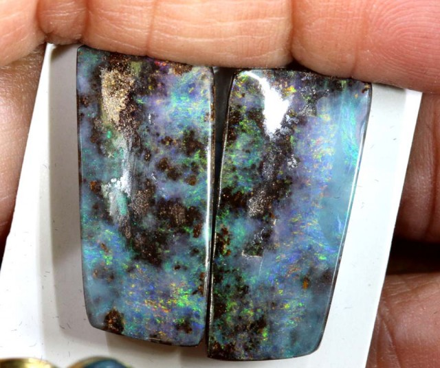 32.7 CTS BOULDER OPAL PAIR  POLISHED CUT STONE TBO-5373