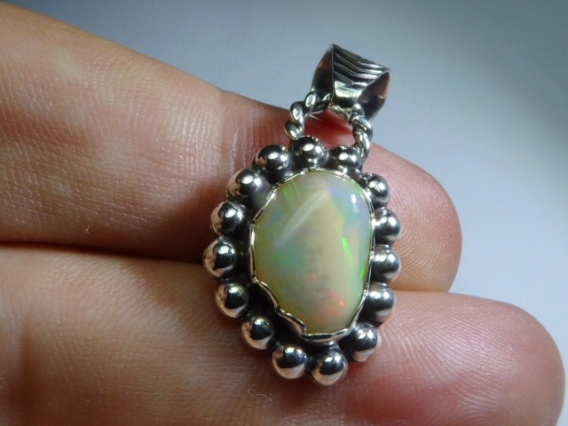 Natural Ethiopian Welo Opal .925 Sterling Silver Pendant Mexican Taxco