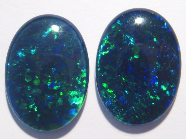Pair of Gem Grade Australian Opal Triplets, 18x13mm