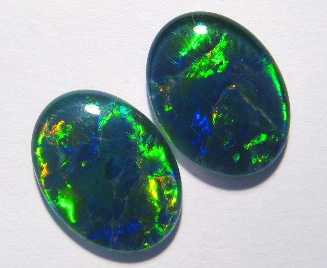 Pair of beautiful Gem Grade Australian Opal Triplets, 16x12mm