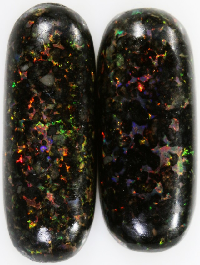 14.85 CTS INDONESIAN  BLACK OPAL PAIR RED FIRE!!!. [VS7454]