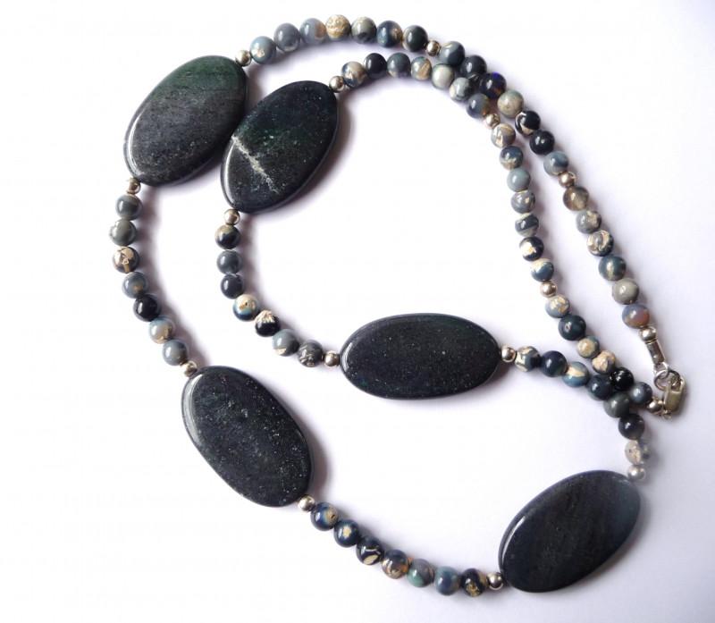Australian Mintabie Opal and Opalized Quartz Bead Necklace (864)