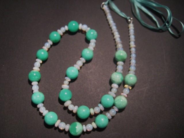 Australian Mintabie Opal and Australian Chrysoprase Bead Necklace
