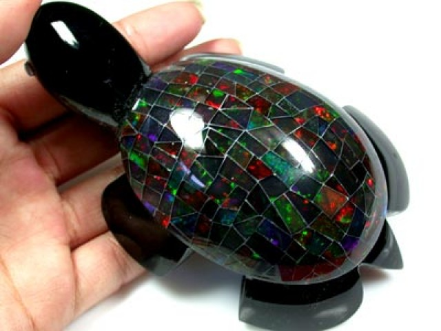 GEM RED MEXICAN OPAL INLAID TURTLE 1000 carats   R1702